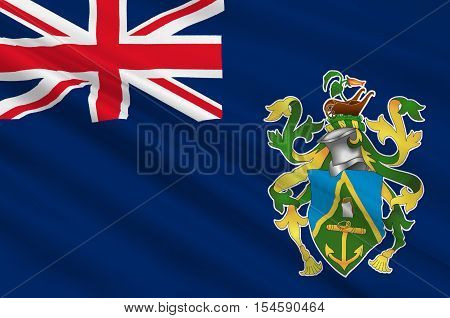 Flag of Pitcairn Islands Adamstown - British Overseas Territory in the Pacific. 3d illustration