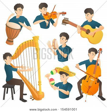 Musician concept set. Cartoon illustration of 7 musician girl vector concepts for web
