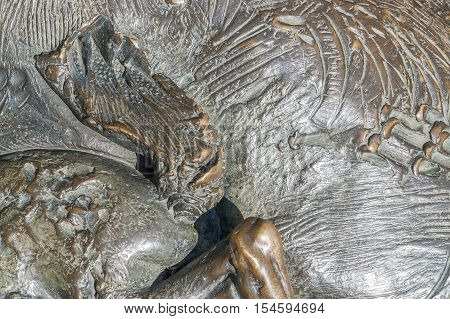 a full frame abstract bronze surface detail