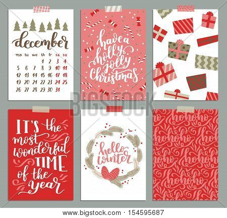 Vector Collection Of Christmas Poster Templates. Christmas Set Of Christmas Greeting Cards. Bright C