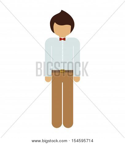 silhouette man with formal suit and bowtie vector illustration