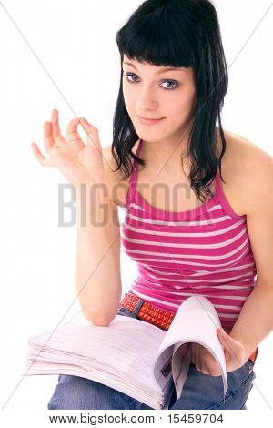 young student learning, reading for exam, studio on white