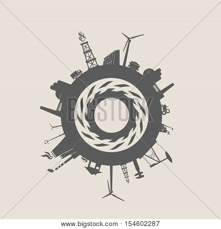 Circle with industry relative silhouettes. Vector illustration. Objects located around the circle. Industrial design background. Gear in the center.