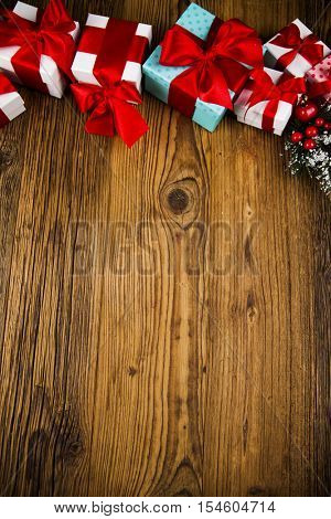 Merry Christmas Frame, Gift box with red ribbon