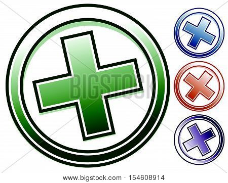 Plus (x) Icon In 4 Color. Plus, X Clip-art, Symbol