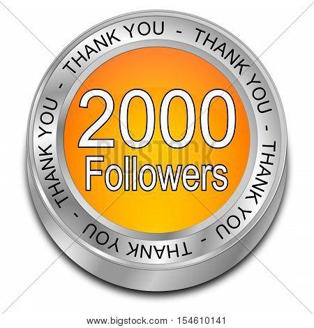 2000 Followers Thank you - 3D illustration