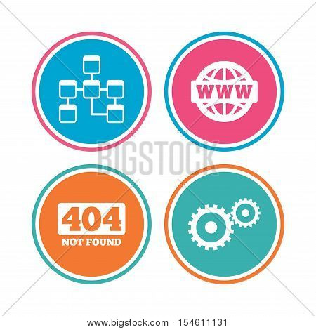 Website database icon. Internet globe and gear signs. 404 page not found symbol. Under construction. Colored circle buttons. Vector