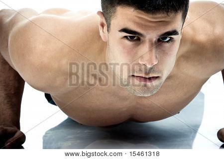 young man athlete, studio shot