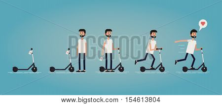 Flat vector illustration about finding and buying a new scooter. A progression of scenes of purchase. A young guy founds his perfect scooter and buys it then enjoy his first fast ride outdoor.
