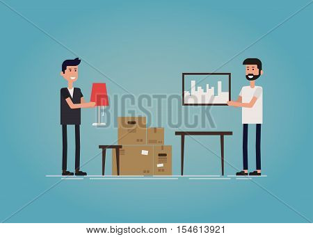 Two hipster guys moving to a new house together. Two guys unpacking cardboard boxes and decorating new home together. Flat vector concept illustration.