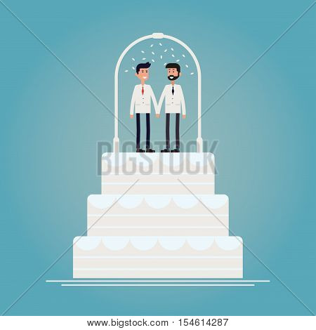 Gay wedding ceremony / marriage cake concept vector illustration. Gay couple in white suits holding hands with wedding arch and white petals standing on wedding cake. Invitation of poster design.