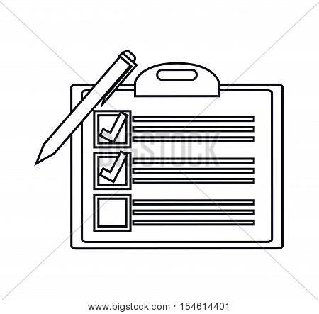 Checklist and checkmark icon. Office paper form and document theme. Isolated design. Vector illustration