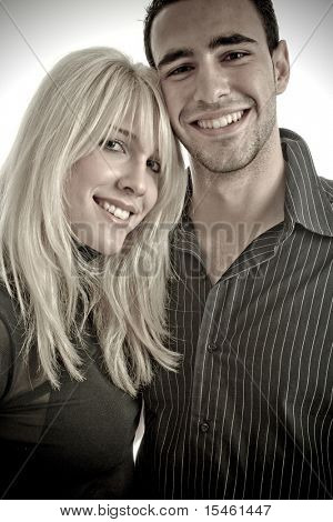 happy couple, studio shot on white background