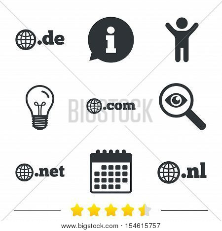 Top-level internet domain icons. De, Com, Net and Nl symbols with globe. Unique national DNS names. Information, light bulb and calendar icons. Investigate magnifier. Vector