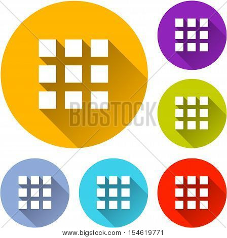 Illustration of six squares icons with shadow