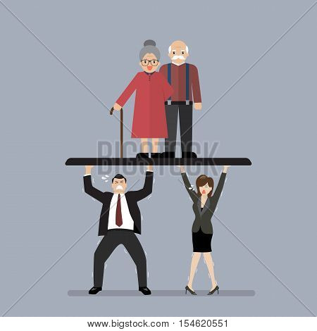 Workers carry Pensioners. Aging population problem vector illustration