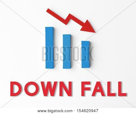 Debt Risk Difficulty Downfall Concept