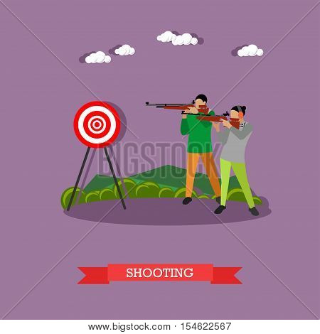Sport shooting range banner. Competition games vector illustration. People in shooting positions.