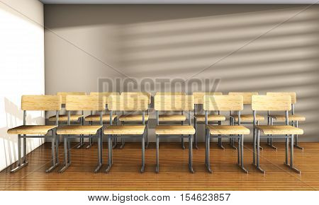 Vintage university classroom with equation solution on blackboard 3D Render