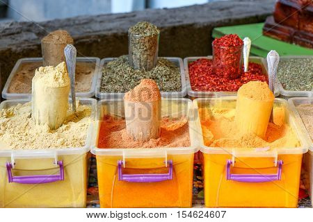 Various types Spices  and at the Spice Market