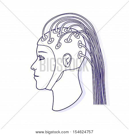 Electroencephalography procedure. EEG. Vector outline illustration. Modern medical illustration