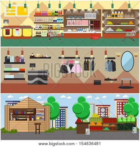 Shopping in a store and local market concept banners. Colorful vector illustration. Grocery shop, fashion boutique and street bazaar interior.