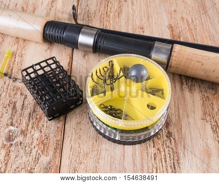 fishing accessories. Spinning feeder round boxes hooks and sinkers