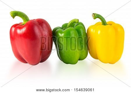 red, yellow and green sweet pepper isolated on white background