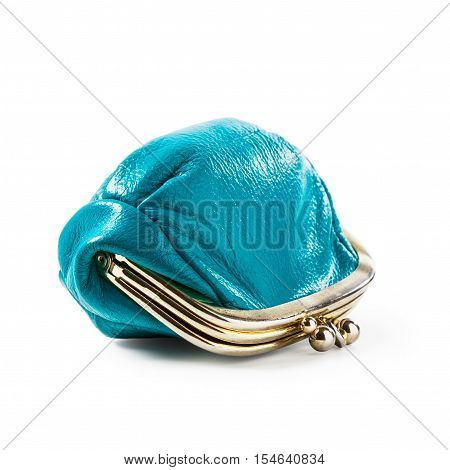 Blue coin purse isolated on white background. Closed female wallet. Saving money concept. Object with clipping path