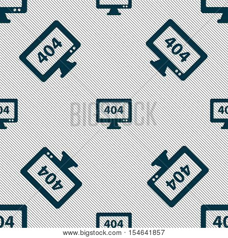 404 Not Found Error Icon Sign. Seamless Pattern With Geometric Texture. Vector