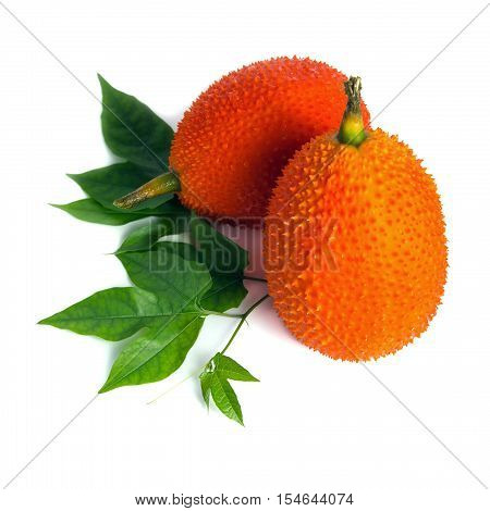 Gac Fruit, Typical Of Orange-colored Plant Foods In Asia With Leaf Isolated On White
