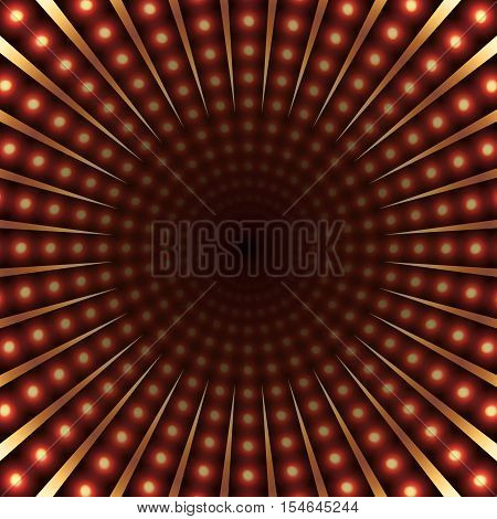 Colorful light tunnel abstract background. Light bulbs and metallic texture. Red and yellow lights. Vector illustration.