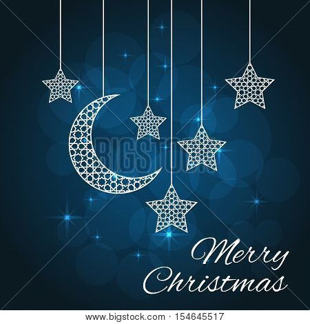 Merry Christmas or new year card on blue background. Vector illustration
