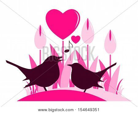 vector clump of heart flowers and couple of birds isolated on white background