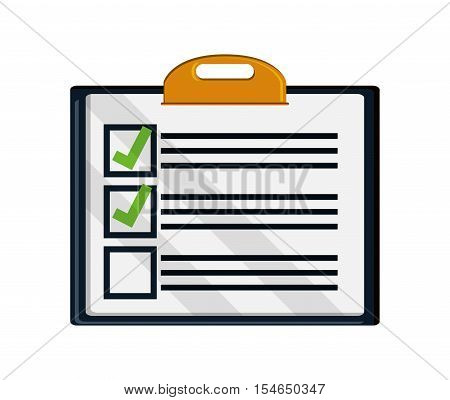 Checklist and checkmark icon. Office paper form and document theme. Colorful and isolated design. Vector illustration