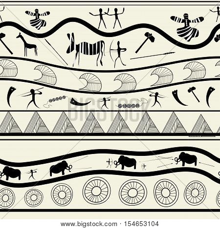 Seamless with animals pattern ethno tribal style