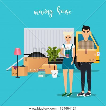 Young Couple Moving. Moving truck and cardboard boxes. Shipping cargo delivery. Flat design modern vector illustration concept.