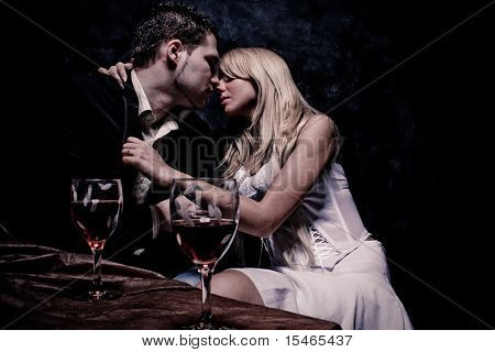 intimate moments, studio dark background