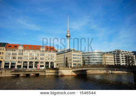 River Spree And The Television Tower In The Background