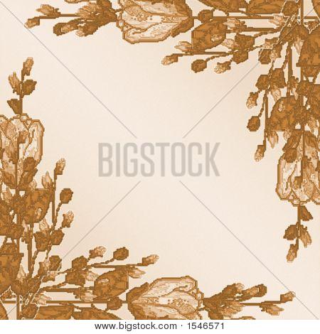 Long Stem Roses Border Primitive Brown