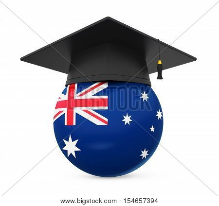 Graduation Cap with Australian Flag isolated on white background. 3D render