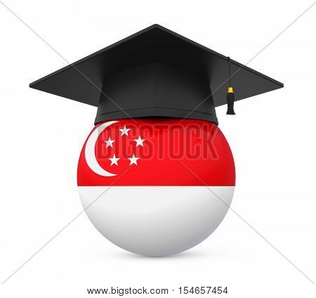 Graduation Cap with Singapore Flag isolated on white background. 3D render