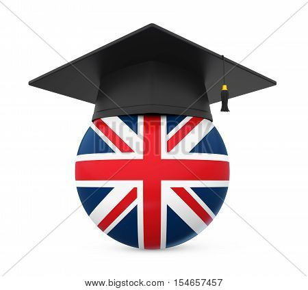 Graduation Cap with United Kingdom Flag isolated on white background. 3D render