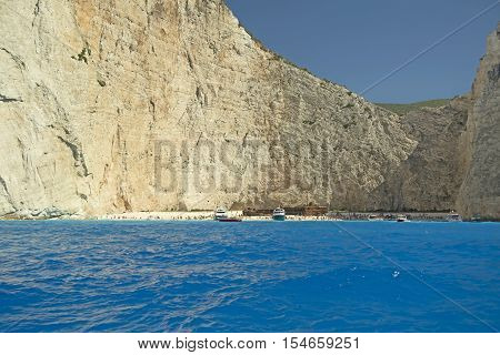 The famous beach of Navagio (wreckage) in the island of Zakynthos Greece