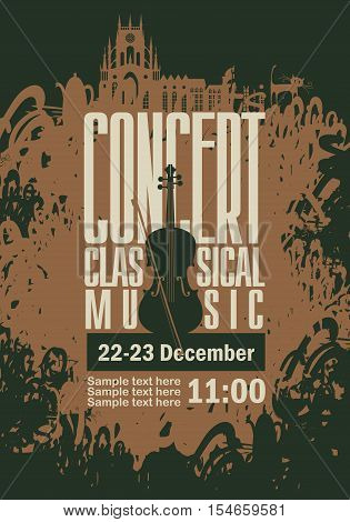 music poster for a concert of classical music with the image of a violin on a background of splashes and drops