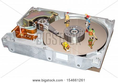 Cleaning the hard disk. A woman cleans a HDD. Figurine of a woman. Cleaners. Cleaning of computer element. Recovery of computer data. Miniature people repair the hard drive.