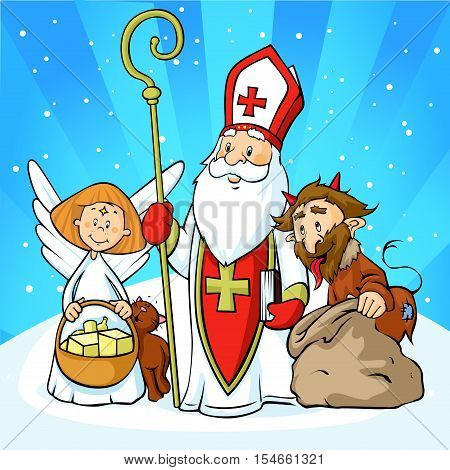 Saint Nicholas devil and angel - vector illustration with blue sky .During the Christmas season they are warning and punishing bad children and give gifts to good children.