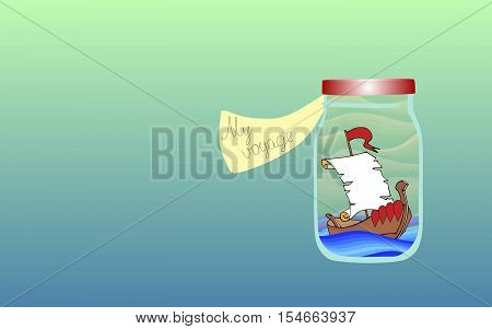 Vitamins for the Soul 8. Allegorical vector illustration. Medicine for the soul. Cruise. Sailing ship in the ocean.