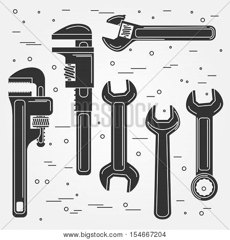 Set of flat wrench icon. Vector illustration. Silhouettes of tools. Set include Adjustable, Pipe and Gear Wrenches.