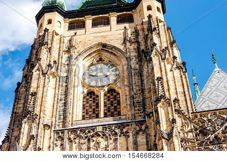 Close-up view on the clock on Vitus cathedral in Prague